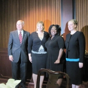 Dean Rogow and MBA Students Patty Holly, Shonta Phillips,Tiffany Hampton