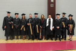 Master of Business Administration graduation candidates prepare for the ceremony